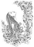 Vektorillustration zentangl Frau in den Blumen Er schaut oben, Profil, Porträt, Gekritzelrahmen, die Eule und dudling Blumen zena Stockfotografie