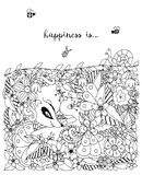 Vektorillustration zentangl Karte mit Blumen Kritzeln Sie Blumen, Frühling, der Schmuck und heiraten Stockfotografie