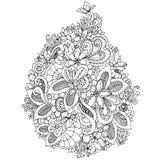 Vektorillustration zentangl Karte mit Blumen Kritzeln Sie Blumen, Frühling, der Schmuck und heiraten Malbuchantidruck für Lizenzfreie Stockfotos