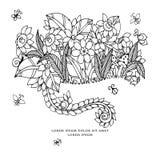 Vektorillustration zentangl Karte mit Blumen Kritzeln Sie Blumen, Frühling, der Schmuck und heiraten Malbuchantidruck für Lizenzfreie Stockfotografie