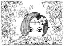 Vektorillustration zentangl Mädchen schaut aus den Steinwänden in den Blumen, Blumengekritzelrahmen, zenart, dudlart heraus Stockfoto