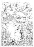 Vektorillustration zentangl Mädchenkind mit Sommersprosseblicken auf das Vogelnest Gekritzel blüht, gestaltet, Holz Bunte grafisc Lizenzfreie Stockfotografie