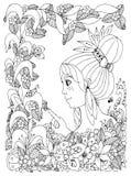 Vektorillustration zentangl Mädchenkind mit Sommersprossen betrachtet Marienkäfer in einer Blume Stockbild