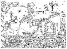 Vektorillustration zentangle Haus in einer Flasche Das Geschichtengekritzel, zenart, Garten, Blumen, Baum, Eule Fabelhafte Tür de Lizenzfreie Stockbilder