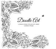 Vektorillustration zentnagl, Blumenrahmen Vektor ENV 10 Malbuchantidruck für Erwachsene Schwarzes Weiß lizenzfreie abbildung