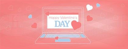 Vektorillustrationbärbar dator med det lyckliga valentin dagkortet på den krabba korallen, geometrisk bakgrund stock illustrationer
