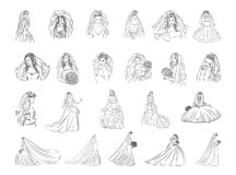 Vektorillustrationbegrepp av brudsymbolen - uppsättning av isolerade vektorsymboler royaltyfri illustrationer