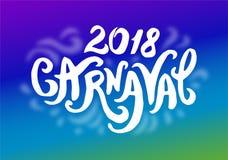 Vektorillustrationbegrepp av Carnaval den färgrika logoen som märker illustrationen på vit bakgrund stock illustrationer