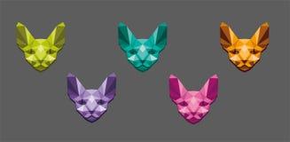 Vektorillustrationbegrepp av den polygonal sfinxen Färg på vit bakgrund vektor illustrationer