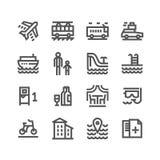 Vektorillustrationbegrepp av den Touristic symbolsuppsättningen - uppsättning av isolerade vektorsymboler stock illustrationer