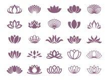 Vektorillustrationbegrepp av en lotusblommalogo Symbol på färgbakgrund royaltyfri illustrationer