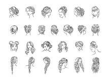 Vektorillustrationbegrepp av frisyrsymbolen - uppsättning av isolerade vektorsymboler vektor illustrationer