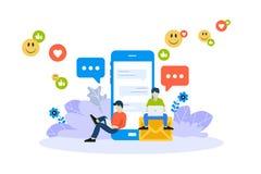 Vektorillustrationbegrepp av mobila apps och service Idérik plan design för rengöringsdukbaner som marknadsför material royaltyfri illustrationer