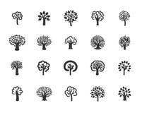 Vektorillustrationbegrepp av trädet - uppsättning av isolerade vektorsymboler stock illustrationer