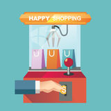Vektorillustrationbegrepp för återförsäljnings- shopping Royaltyfria Bilder