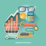 Vektorillustrationbegrepp för affärsstrategi Marknadsföringsstrategi Återförsäljnings- affär Ekonomiskt och statistik Arkivfoto