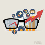 Vektorillustrationbegrepp för affärsstrategi och industriell planläggning Ekonomiskt och statistik bläddra den detailed affärstec Arkivfoto