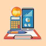 Vektorillustrationbegrepp för affärsstrategi och industriell planläggning Ekonomiskt och statistik bläddra den detailed affärstec Royaltyfri Foto
