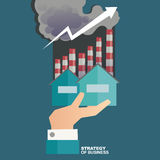 Vektorillustrationbegrepp för affärsstrategi och industriell planläggning Ekonomiskt och statistik bläddra den detailed affärstec Arkivbild