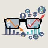 Vektorillustrationbegrepp för affärsstrategi och industriell planläggning Ekonomiskt och statistik bläddra den detailed affärstec Fotografering för Bildbyråer