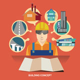 Vektorillustrationbegrepp för byggnadskonstruktioner Ett hus som göras av tjugo pundanmärkningar Arkitektformgivare Leverantörege Arkivbild