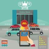 Vektorillustrationbegrepp för på linjen lager Digital marknadsföring köp linjen Betalning för bilvisningslokalmobil Royaltyfria Bilder