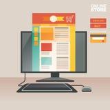 Vektorillustrationbegrepp för på linjen lager Digital marknadsföring köp linjen mobil betalning Arkivfoto