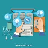 Vektorillustrationbegrepp för på linjen lager Digital marknadsföring köp linjen mobil betalning Royaltyfria Foton
