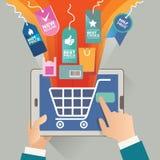 Vektorillustrationbegrepp för på linjen lager Digital marknadsföring köp linjen mobil betalning Royaltyfri Bild