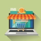 Vektorillustrationbegrepp för på linjen lager Digital marknadsföring köp linjen mobil betalning Fotografering för Bildbyråer