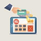 Vektorillustrationbegrepp för på linjen lager Digital marknadsföring köp linjen mobil betalning Royaltyfri Foto