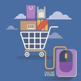 Vektorillustrationbegrepp för på linjen lager Digital marknadsföring köp linjen mobil betalning Royaltyfria Bilder