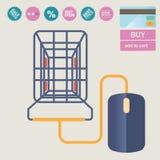 Vektorillustrationbegrepp för på linjen lager Digital marknadsföring köp linjen mobil betalning Arkivfoton