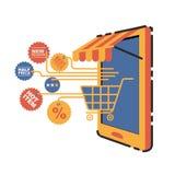 Vektorillustrationbegrepp för på linjen lager Digital marknadsföring köp linjen mobil betalning Arkivbilder
