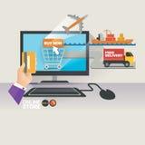 Vektorillustrationbegrepp för på linjen lager Digital marknadsföring köp linjen mobil betalning Leveransbeställning Expeditiontra Arkivbilder