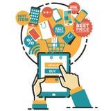 Vektorillustrationbegrepp för på linjen lager Digital marknadsföring mobil betalning Arkivbild