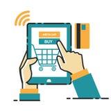 Vektorillustrationbegrepp för på linjen lager Digital marknadsföring mobil betalning Royaltyfri Bild