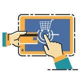 Vektorillustrationbegrepp för på linjen lager Digital marknadsföring mobil betalning Arkivfoton