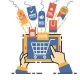 Vektorillustrationbegrepp för på linjen lager Digital marknadsföring mobil betalning Royaltyfri Fotografi