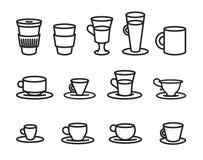 Vektorillustrationbegreppet av linjen för kaffekoppen skissar symbolen isolerad objektwhite för bakgrund 3d symbol royaltyfri illustrationer