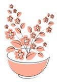 Vektorillustrationblomma, v?xt som v?xer i en kruka Inlagd v?xtsymbol Liten v?xtplanta Plantasymbol stock illustrationer