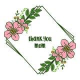 Vektorillustrationbokstäver tackar dig mamman med den rosa kransramen för modellen royaltyfri illustrationer