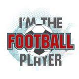 Vektorillustrationen är jag fotbollsspelaren och fotbollbollen Arkivbilder