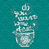 Vektorillustrationen önskar du något te? Stilsortssammansättning Illustration för vykort, affischer, baner Royaltyfria Bilder