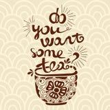 Vektorillustrationen önskar du något te? Stilsortssammansättning Illustration för vykort, affischer, baner Royaltyfri Fotografi