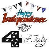 Vektorillustrationen anmärker lycklig självständighetsdagen i rött, blått och vitt kulört för annonsering Ferie 4 av juli, checkb stock illustrationer