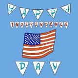 Vektorillustrationen anm?rker lycklig sj?lvst?ndighetsdagen i r?tt, bl?tt och vitt kul?rt f?r annonsering Ferie 4 av juli, flagga stock illustrationer