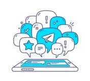 Vektorillustrationen av anförande för blåttfärgdialogen bubblar med ico Arkivfoton