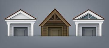 Vektorillustrationen av beståndsdelfasaden, tre portik gjorde av trä och betong med kolonner över dörr på bakgrund stock illustrationer