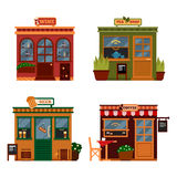 Vektorillustrationen av byggnader, som är, shoppar för köpande drink Uppsättningen av den trevliga lägenheten shoppar Olikt ställ Royaltyfri Fotografi